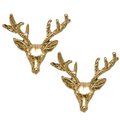 Wildfox Couture 美國品牌 立體 麋鹿頭 金色耳環 亮金