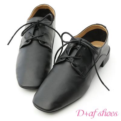 D+AF 文青氣質.超軟方頭綁帶牛津鞋*黑