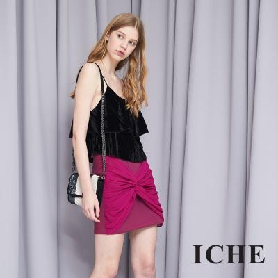 ICHE 衣哲 時尚設計款拼接紡紗造型短裙 兩色