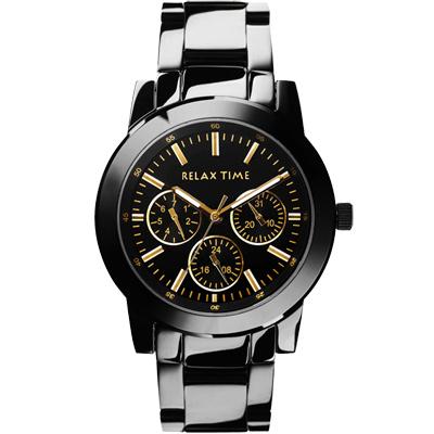 Relax Time 時尚達人日曆顯示腕錶-IP黑x金時標/38mm