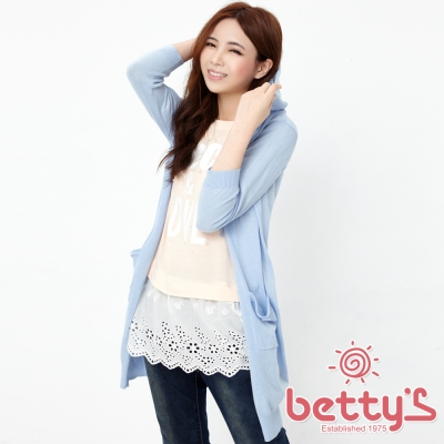 betty's貝蒂思 網狀連帽開襟長版針織罩衫(藍色)
