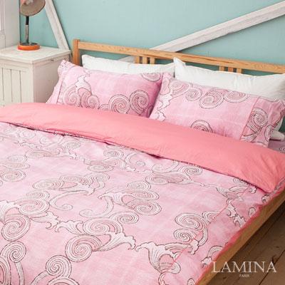 LAMINA-古典圖騰-粉-雙人加大三件式精梳棉床包組