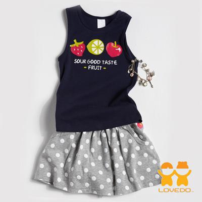 【LOVEDO-艾唯多童裝】可愛綜合水果 背心短裙兩件組套裝(深藍)