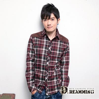 Dreamming 剪接麂皮膠印格子長袖襯衫-共二色