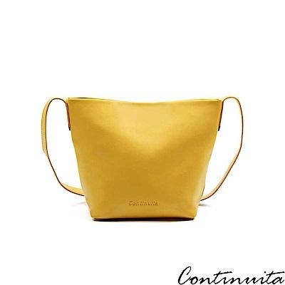 Continuita 康緹尼 頭層牛皮日本輕盈隨身斜背包-黃色