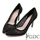GDC-性感宴會必備簍空水鑽細跟尖頭鞋-黑色