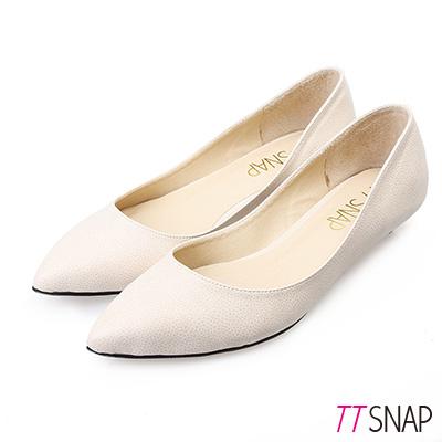 TTSNAP尖頭鞋-MIT細緻小蜥蜴紋真皮低跟鞋 米