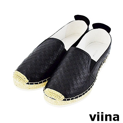viina-休閒系列-壓紋真皮草編鞋-經典黑