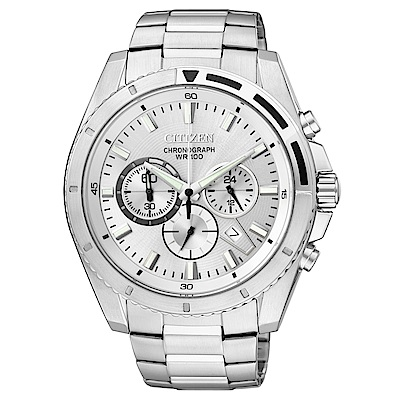 CITIZEN星辰 頂尖菁英三眼計時石英腕錶 (AN8010-55A)-銀/43mm
