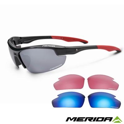 《MERIDA 》美利達護目鏡 0850 -亮紅+灰片+鍍膜藍片