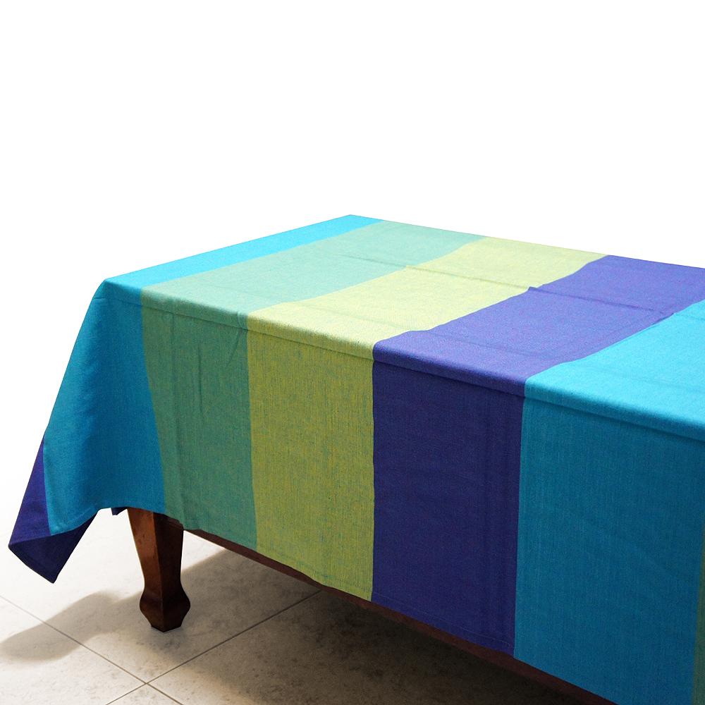 布安於室-色塊純棉桌巾-藍色系