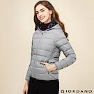 GIORDANO 女裝90%白鴨絨連帽撞色時尚輕薄羽絨外套 - 03 中花灰