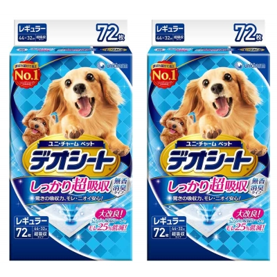 日本Unicharm消臭大師 超吸收狗尿墊 M號 72片裝 x <b>2</b>包