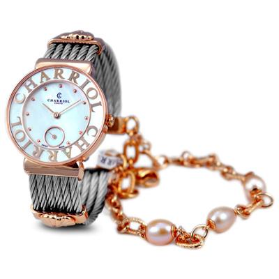 CHARRIOL NEW夏利豪玫瑰金可拆珍珠鎖鍊錶-30mm