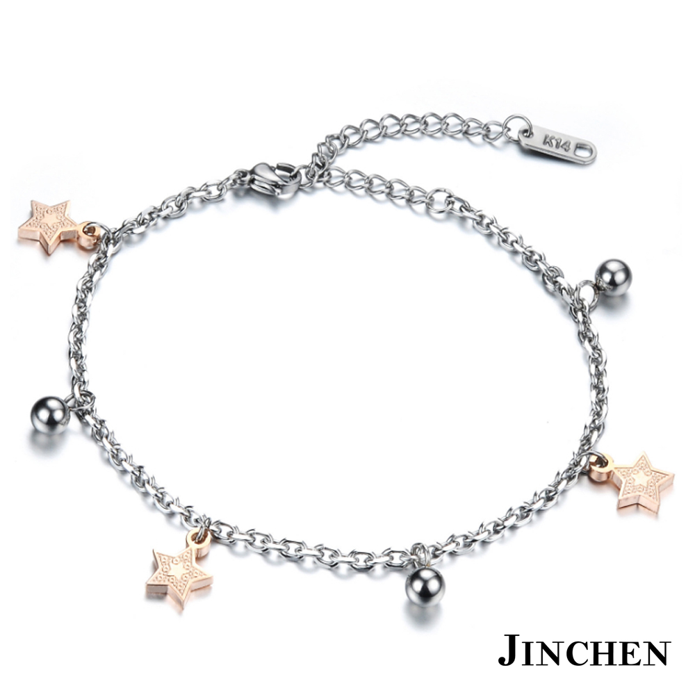JINCHEN 白鋼星星腳鍊 玫瑰金