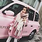 梨花HaNA 韓國溫柔暖冬粉紅拉毛針織純色超厚長圍巾