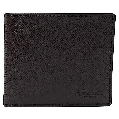 COACH 烙印LOGO防刮牛皮附活動卡夾短夾(深棕色)