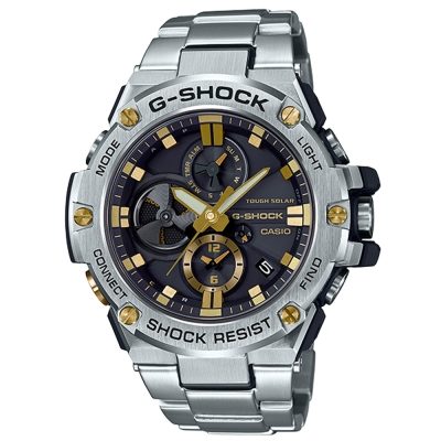 G-SHOCK創新突破分層防護結構智慧藍牙錶(GST-B100D-1A9)金時刻-53.8mm