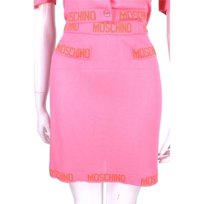 MOSCHINO 亮粉色品牌字母飾邊針織短裙