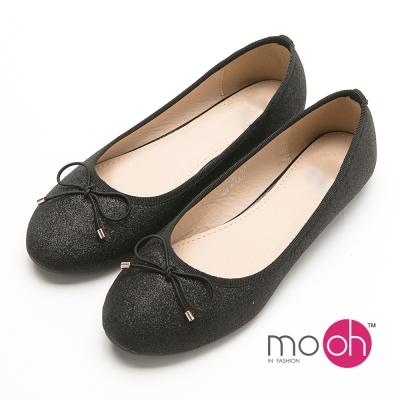 mo.oh  蝴蝶結亮片軟皮圓頭平底娃娃鞋-黑色