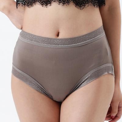 內褲 優雅細緻100%蠶絲中高腰三角內褲 (灰) Chlansilk 闕蘭絹