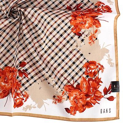 DAKS經典格紋花卉暖色系純棉帕巾-紅
