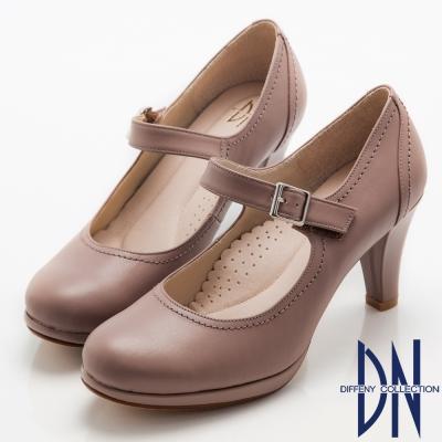 DN-氣質女神-全真皮經典魔鬼氈瑪麗珍鞋-紫芋