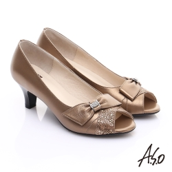 A.S.O 優雅時尚 全真皮絨面牛皮飾帶鑽飾魚口鞋 古銅
