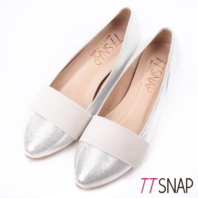 TTSNAP內增高-MIT素面織帶小尖頭真皮平底鞋 銀