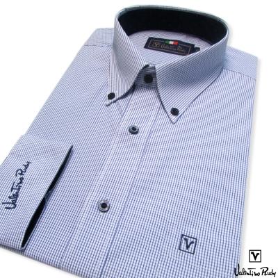 Valentino Rudy范倫鐵諾.路迪-長袖襯衫-藍格紋-釘釦領