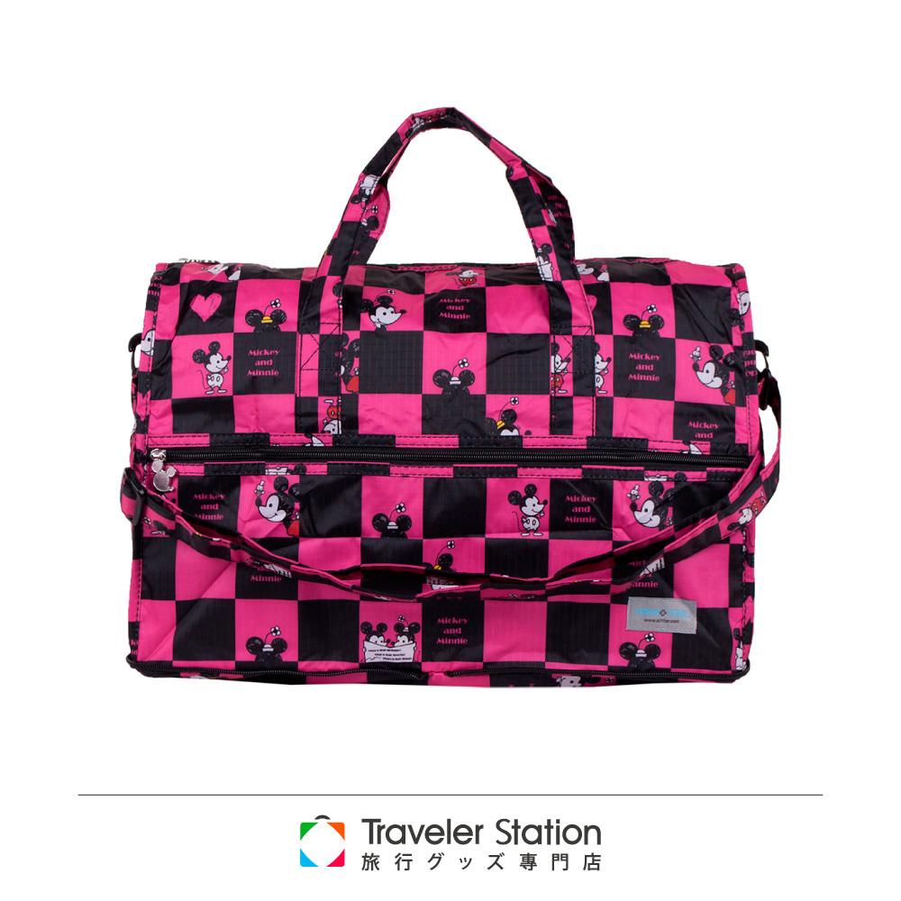 【HAPI+TAS 】格子米奇摺疊旅行袋(小)-粉