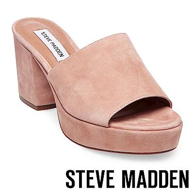 STEVE MADDEN-RELAX 絨布厚底粗跟涼拖鞋-絨粉
