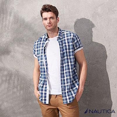 Nautica夏日清新感短袖格紋襯衫-藍白