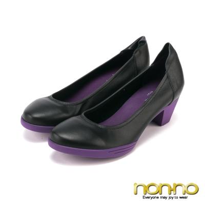 nonno-玩美都會-百搭簡約中跟鞋-紫