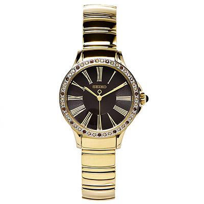 SEIKO Double  唯美水鑽女性手錶(SRZ444P1)-黑面X金色/30mm