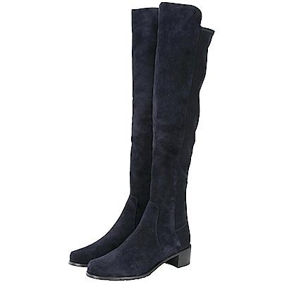Stuart Weitzman RESERVE 深藍色麂皮拼接過膝長靴(展示品)