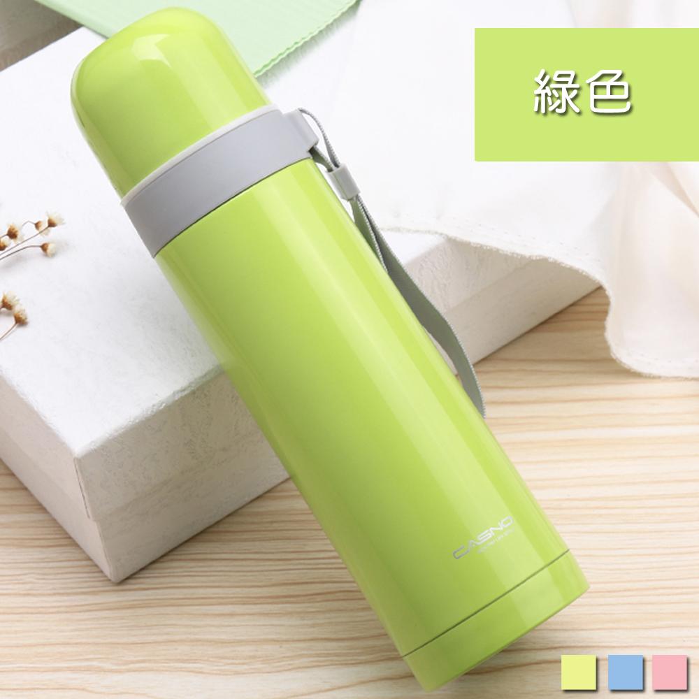 PUSH! 戶外休閒用品不袗雙層無尾真空保溫水壺保溫瓶500ml保溫杯E86-2綠色
