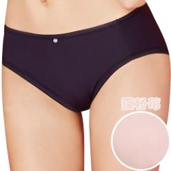 思薇爾 嗨Q Bra系列M-XXL素面中腰三角褲(靄粉莓)