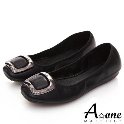 A one 方形鑽飾方頭娃娃鞋-黑色