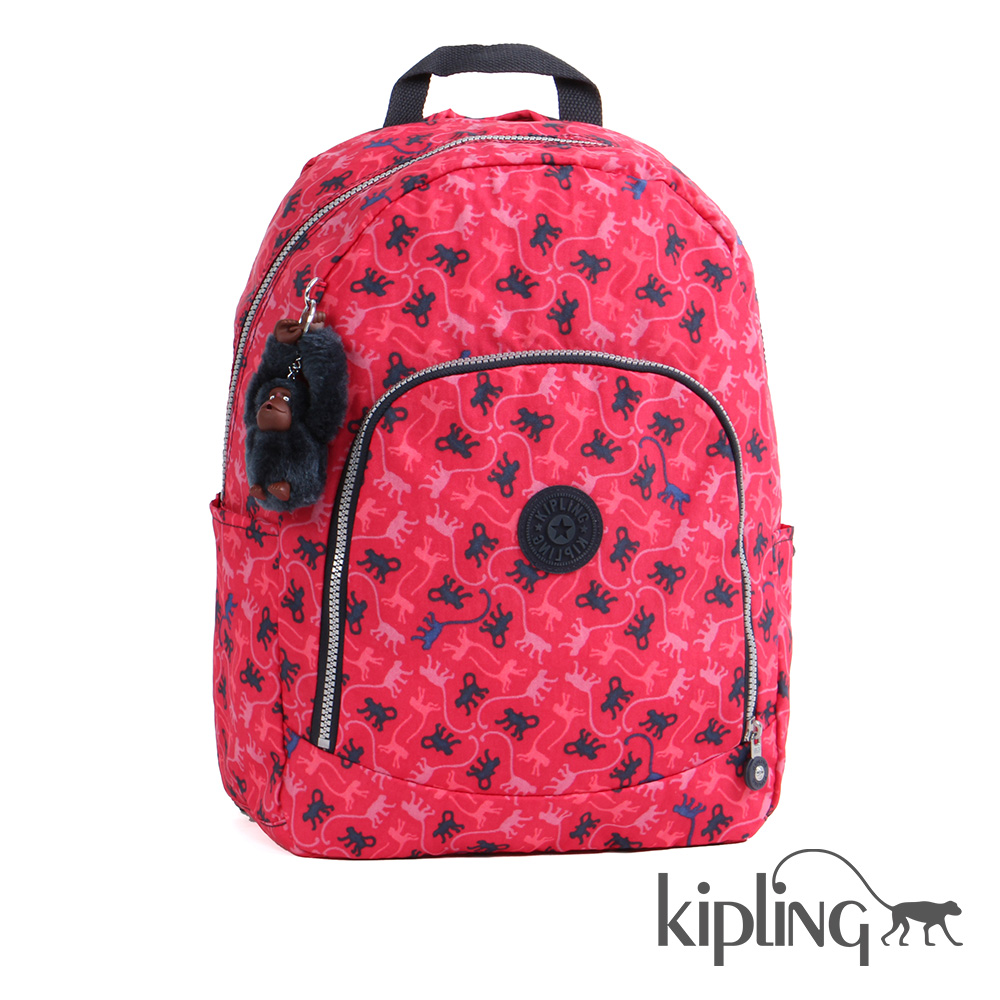 Kipling後背包經典猴紋桃紅印花-大