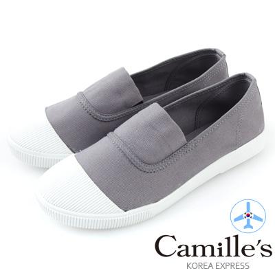 Camille's 韓國空運-正韓製-彩色心情-素面帆布懶人休閒鞋-悠閒灰