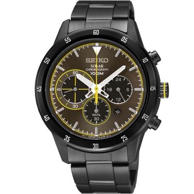 SEIKO Criteria太陽能三眼計時腕錶(SSC343P1)-咖啡X黑/41mm
