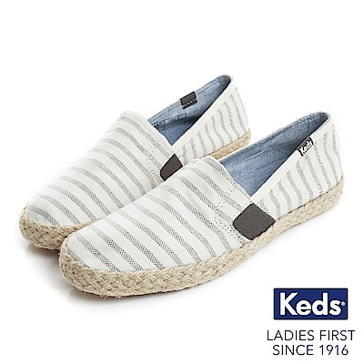 Keds CHILLAX A-LINE 夏季草編條紋休閒鞋-奶油白