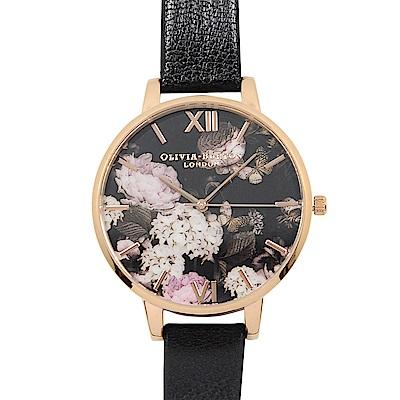 Olivia Burton 英倫復古手錶 冬季繡球花園 黑色真皮錶帶 玫瑰金錶框38mm