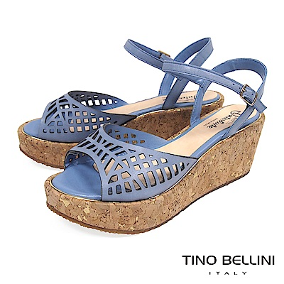 Tino Bellini巴西進口幾何鏤空繫帶楔形涼鞋_ 藍