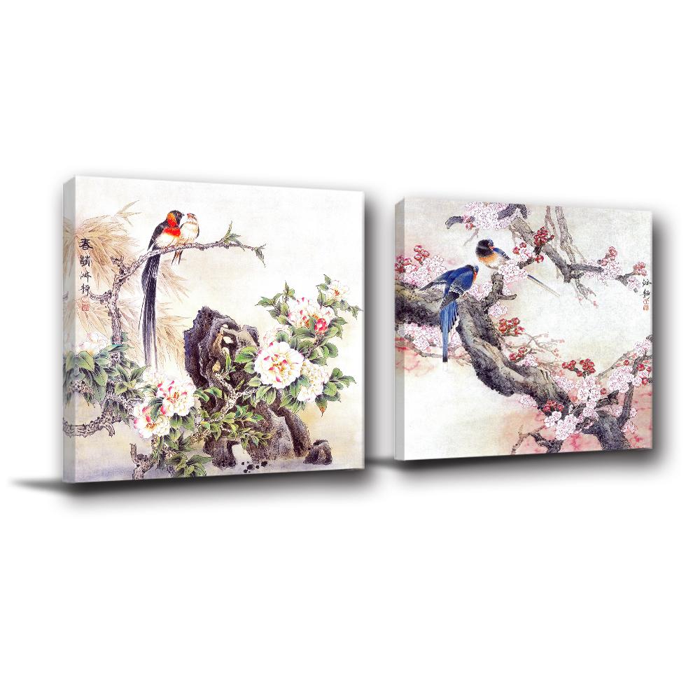 24mama掛畫-兩聯 掛畫 中國風 無框畫-炊煙青鳥-60x60cm
