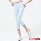 BOBSON   女款高腰膠原蛋白七分褲-天空藍