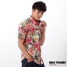 BIG TRAIN 扶桑印花短袖襯衫-男-白底黃花
