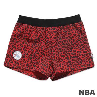 NBA-費城76人隊豹紋迷你短褲-紅-女