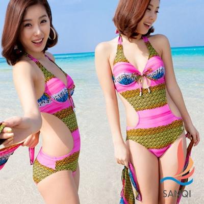 SANQI三奇 港灣派對 兩件式連身裙泳裝 泳衣(粉M~XL)
